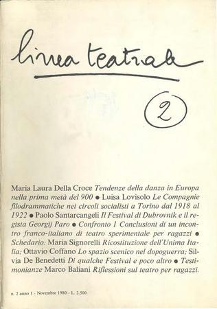 Linea teatrale, n. 2 (novembre 1980) - Copertina