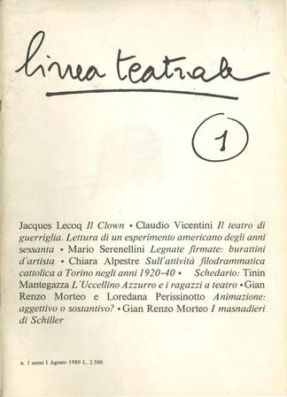 Linea teatrale, n. 1 (agosto 1980) - Copertina