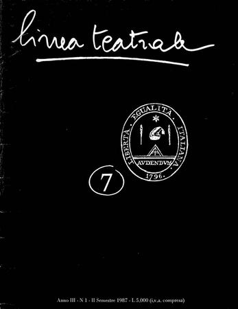 Linea teatrale, n. 7 (settembre 1987) - Copertina
